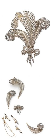 AN EXCEPTIONNAL, OLC CUT DIAMOND, GOLD AND SILVER BROOCH, CIRCA 1870, 11.7 cm high, 78.5 g, made for the Empress of Austria.
