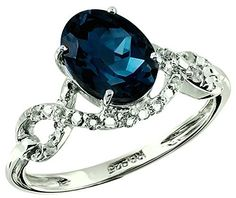 2.61 Carats London Blue with White Topaz Silver Ring available at joyfulcrown.com