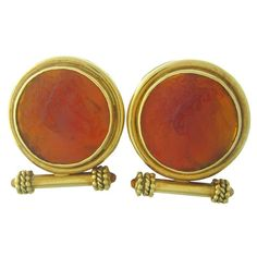 Elizabeth Locke Gold Intaglio Citrine Earrings