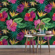 Tropical hibiscus removable wallpaper / cute floral bird of paradise self adhesive wallpaper / botanical temporary wallpaper B153-27