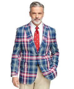 This sport coat is made from pure Indian cotton madras. Offered in our Madison Fit which is favored for its relaxed fit, soft shoulders and full chest. Two-button with center vent. Half-lined. Dry clean. Imported.