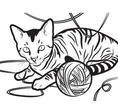 Kitty Cat An Egyptian Playing With A Yarn Coloring Page PageFull Size Image