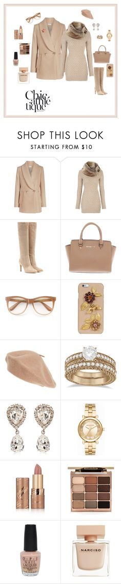 """""""Cozy and Chic"""" by michelechambers ❤ liked on Polyvore featuring Gianvito Rossi, Michael Kors, Wildfox, Dolce&Gabbana, Halogen, Allurez, tarte, Stila, OPI and Narciso Rodriguez"""