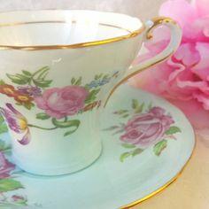 AYNSLEY Blue Corset Tea Cup and Saucer Made in England /Pink Floral/ Mismatched/ Vintage Tea  / Shabby Elegant Teacup Set