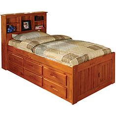 Honey Bookcase 6-drawer Twin-size Bed - Practical, but I don't really like how it looks. Maybe if it was white.