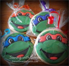 Teenage Mutant Ninja Turtle Cookies #tmntparty #tmnt #cookies  Decorated Cookies, sugar cookies