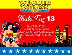 Convite digital mulher maravilha Comic Books, Comics, Cover, Movie Posters, Digital Invitations, Invitation Birthday, Kids Part, Beverages, Film Poster