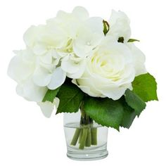 "Check out this item at One Kings Lane! 6"" Rose & Hydrangea in Vase, Faux"