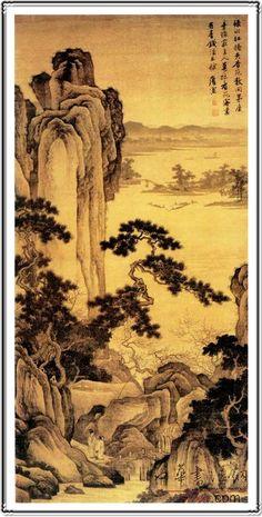 Master works, landscape, scenery, ink painting, mountain village, forest, pine, poem, Chinese master Tang Bohu's ink painting. Beautiful scenery and poetry, painting, Chinese traditional ink painting. The yellow background, Pine Mountain,mojster, pokrajina, pokrajino, slika, vasi, v gozdu, piney, verz, kitajski gospodar tang tiger, ki je slika.lepa slika, pesniško pokrajino, potok, tradicionalno kitajsko sliko. rumeno ozadje pine, gore,