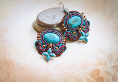 Soutache striped beaded handmade earrings with natural stones, gift for her by nikuske on Etsy