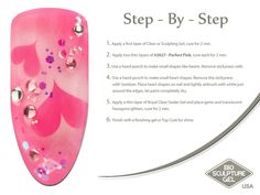 Pink airbrush step-by-step How To Do Nails, Fun Nails, Royal Gel, Airbrush Nail Art, Bio Sculpture Nails, Sculpting Gel, Nail Art Techniques, Paint Line, Nail Art Brushes