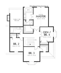 Upper Floor Plan of Mascord Plan 2280 - The Norway - Farmhouse Plan with Bay Windows