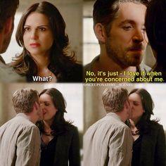 "Regina and Robin Hood - 5 * 1 "" Dark Swan "" haha I love wicked Regina. Look at that smile"
