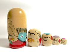 Vintage Fukuruma Japanese Nesting Dolls