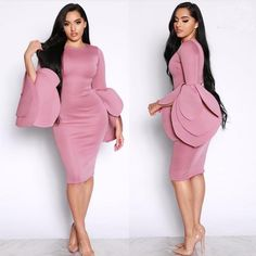 Exaggerated Round Neck Long Sleeve Knee Length Bodycon Dress Neck Flower Cuffs Fashion Dresses and Midi Dress by Sexy Affordable Clothing African Fashion Dresses, African Dress, Bodycon Dress With Sleeves, Dresses With Sleeves, Mini Dresses, Dress Outfits, Fashion Outfits, Fashion Women, Mode Chic
