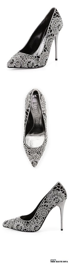Alexander McQueen Crochet Embroidered Velour Pump Black