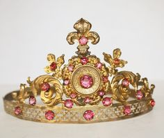 Antique Century French Repousse Gilt Brass Tiara Crown with Pink Faceted Cut Glass Stones and Fleur de Lis Royal Crowns, Royal Tiaras, Crown Royal, Tiaras And Crowns, Royal Jewelry, Circlet, Crown Jewels, Cut Glass, Pink And Gold