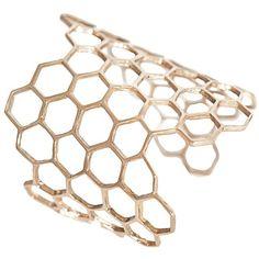 Bernard Delettrez Honeycomb Cuff ($415) ❤ liked on Polyvore featuring jewelry, bracelets, gold, bracelet jewelry, cuff bangle, cuff jewelry, womens jewellery and pandora bracelet