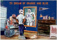 Auburn Tigers Orange and Blue Kids Room Young Boy Art Print