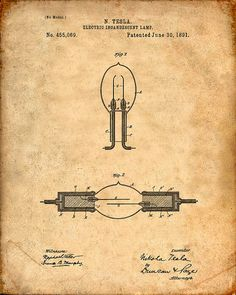Patent Print Tesla Incandescent Lamp Tesla Wall by VisualDesign