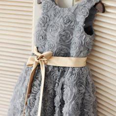 Ulass Gray Rosette Flower Girl Dress/Champagne Gold Sash Children Toddler Party Dress for Wedding Junior Bridesmaid Dress