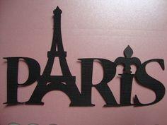 Lindo nome PARIS recortado em papel especial, Iideal para decoração de projetos de scrap ou mesmo álbuns de fotografias, ou festa no tema Paris.    Tamanho: 10 cm de comprimento por 6 cm de altura, confeccionado em papel Color Plus 180 gr.    Pacote com 2 unidades.    Posso fazer em outras cores. R$ 2,00