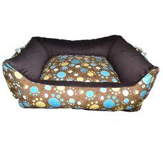 Cama Quadrada Dupla Face Marrom Patas Coloridas Futon Dog & Home - MeuAmigoPet.com.br #petshop #cachorro #cão #meuamigopet