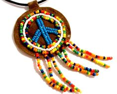 Original 1960's Hand Beaded Leather Unisex Peace Sign Pendant Necklace, Vintage Hippie Colorful Necklace, Retro 60s, VisionsOfOlde on Etsy, $28.58 CAD