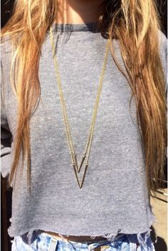 Brandy ♥ Melville | Gold V Necklace - Necklaces - Jewelry - Accessories