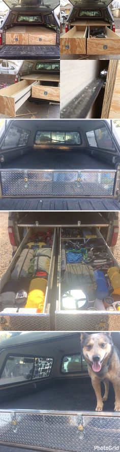 Living full time on the road and needed better storage for camping, fishing gear and tools. Used angle iron and skateboard bearings for the rollers. So far has outstandingly withstood a few thousand miles of highway and off road wilderness #travel throughout the Southwest. Total project cost roughly $350. #truck #pickup  #storage #camping