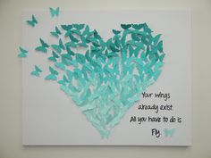 Hand-made Paper Butterfly Heart Art! Great for Baby room, girl's room, nursery, gifts, wedding present..