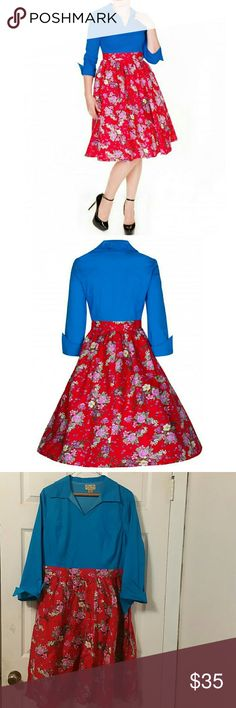 Lindy Bop floral fit and flare pin up dress 2XL Cute dress! Has lots of life left, great for that retro pinup rockabilly look. Vintage inspired. lindy bop Dresses