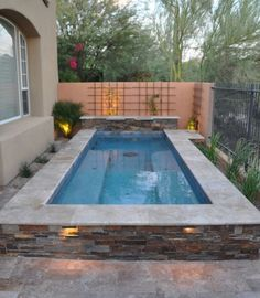 If you're prepared to get a pool, consider the advantages of one that's small-scale yet upscale. A little pool doesn't need to be any less refreshing. A little swimming pool is a … Pools For Small Yards, Small Swimming Pools, Swimming Pools Backyard, Swimming Pool Designs, Pool Landscaping, Lap Pools, Indoor Pools, Landscaping Design, Small Backyard Design