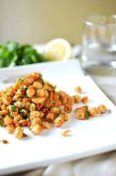 Quick, light, and fresh chickpea salad with cashews, ginger, cilantro, and lemon.