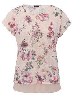 Floral print sheer trim sequin top