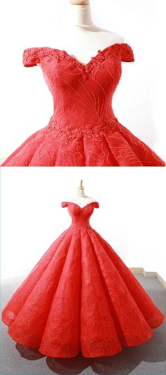 New brand red sweetheart off shoulder customize long formal prom dress, party dress with lace appliques #promdress #promdresses #weddingdresses #dress