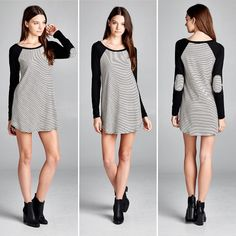 D5376 Loose fit long sleeves round neck raglan dress. Contrast neck binding and sleeves. Sleeves has elbow patch made with self fabric. Rounded hems. The self fabric of this dress is a medium weight striped ribbed knit fabric that is soft drapes well and has great stretch. The contrast fabric of this dress is heavy weight knit jersey that is soft and has great stretch.  #cherishusa #cherishapparel #shopcherish #transitional #fashionbuyer #boutique #fashion #fashiondiaries #instafashion…