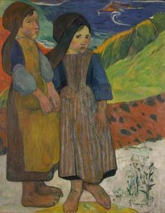 Deux fillettes bretonnes près de la mer  Paul Gauguin