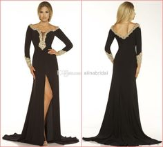 Wholesale 2014 Evening Dresses - Buy Modern 2014 Evening Dresses Black Scoop Long Sleeve A Line Maxi Sweep Train with Gold Beads Crystal Front Slit Formal Party Dress New 2015, $141.37   DHgate