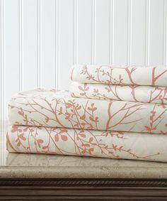 White & Coral Hotel 5th™ Foliage Sheet Set