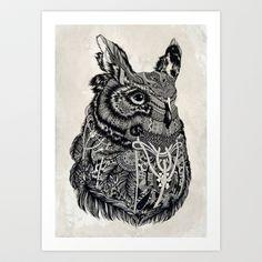 For Brandon  Owl Art Print by Feline Zegers - $18.00