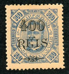 Mozambique  1902  Scott 92 400r on 300r  blue/salmon  On stamps of 1894, surcharged