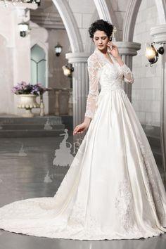 Vintage A-line Beaded High Waist Chapel Train Satin Wedding Dress