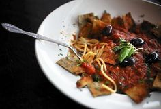 """""""Eggplant puttanesca is a must-have at La Fontanella on South Oakley Avenue, and be sute to say 'yes' when Maria asks if you want the anchovy with it.""""  From: """"The Other Little Italy."""" Chicago Tribune Dining section cover story. Photo by E. Jason Wambsgans/Chicago Tribune."""