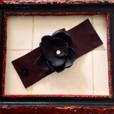 Leather Rose Black and Burgundy Wrist Cuff by ResurrectionPill, $24.00