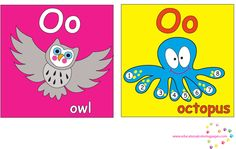 ABC Full Color Learning Cards | Coloring Pages O