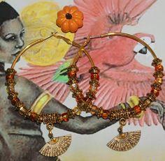 Ochun Oshun inspired modern Hoop earrings by ModernOrisha on Etsy