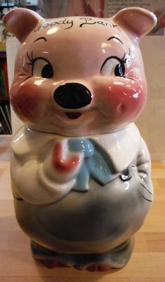 Vintage Ceramic Piggy Bank Realistic Style Pig 7x4