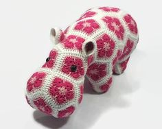 Stuffed hippo, Crochet animal toy, African flower croche,t Hippopotamus toy, Stuffed toy, Crochet hippo, Amigurumi toy This handmade hippo is made out of 44 separate patches wich are crocheted together. Happy is soft, squeezable, and makes an excellent body pillow, couch cushion, #AD #plush #stuffed #crochet #hippo #flower