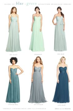 mix and match blue bridesmaid dresses - Google Search